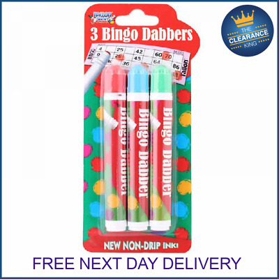 Bingo Dabbers Ink Markers Pens For Ticket Games 3 Pack Assorted Colours Non Drip