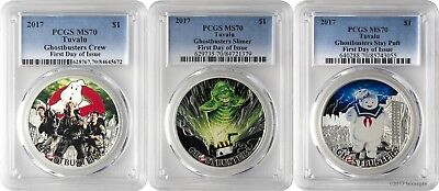 2017 $1 Tuvalu Ghostbusters Crew Slimer Stay Puft 3 Silver Coin Set PCGS MS70 FD
