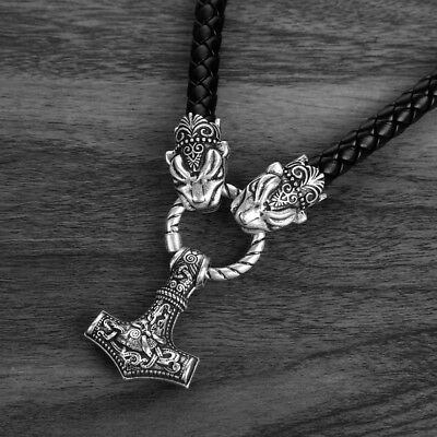 Viking Necklace Leopard Pendant With Thor Hammer Mjolnir Amulet Medieval Alchemy