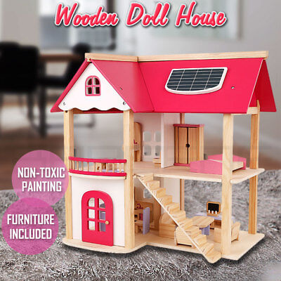 Wooden DIY Dolls Doll House 3 Level Kids Pretend Play Toys Full Furniture Set Pi