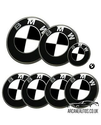 FOR BMW Gloss Black Badge Decals ALL MODELS Wrap Sticker Overlays Emblems