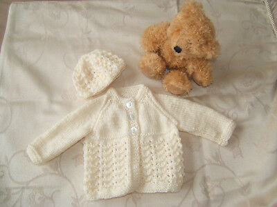 766d3268c NEW HAND Knitted Baby Boy Premature Cardigan And Hat - £2.70 ...