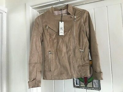 River Island Ettienne Beige-Dark Jacket Faux Suede Size Uk 6 Eur 32 New Bnwt