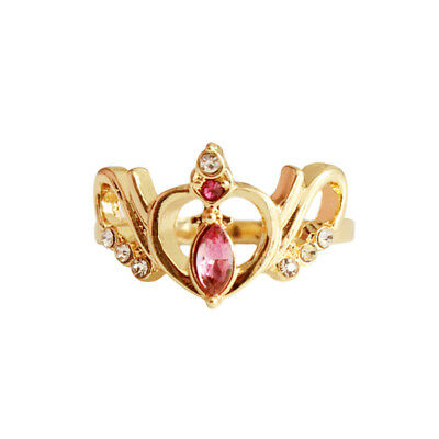Anime Sailor Moon Crystal Crown Hollow Sweet Heart Ring Jewelry Gift