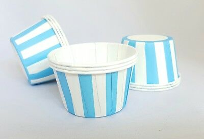 Blue & White Striped Pleated Cupcake Cases Muffin Cases Baking Cups