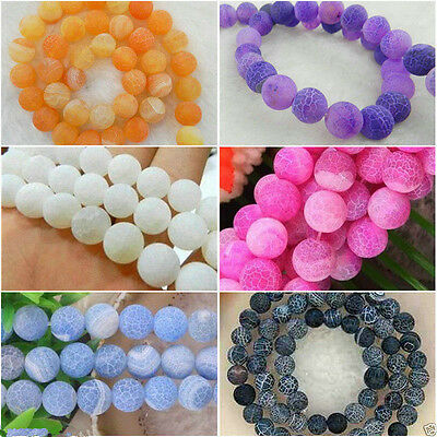 Wholesale Frost Dream Fire Dragon Veins Agate Loose Beads Gems 14'' Multicolor