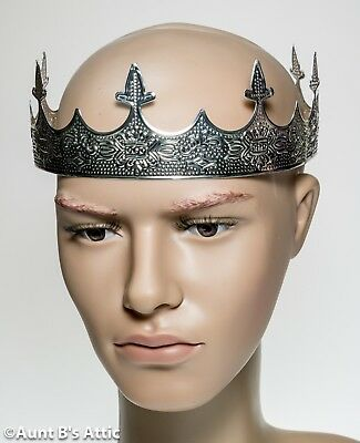 Crown Men's Silver Fancy Stamped Metal 8 Point Costume Accessory OS