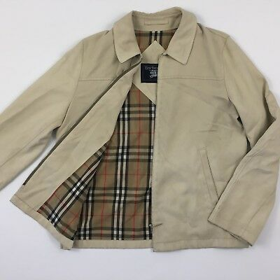 Vtg BURBERRY Blouson Jacket Solid Tan Brown Full Zip Men's L / XL