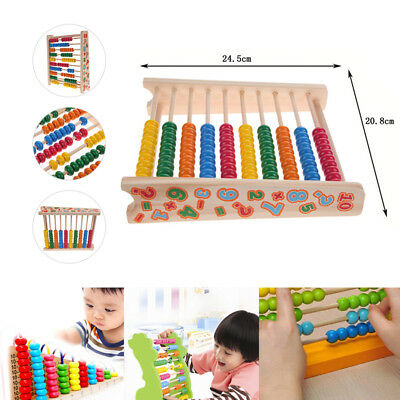 WOODEN ABACUS 10-row Colorful Beads Learn to Count Maths Kids ...