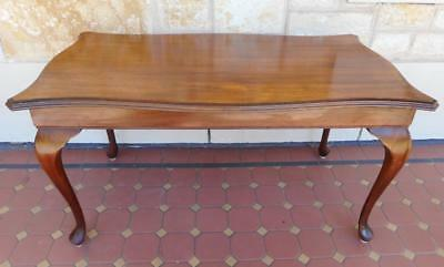 c.1940's Art Deco Queen Ann Leg Serpentine Front Solid Blackwood Coffee Table