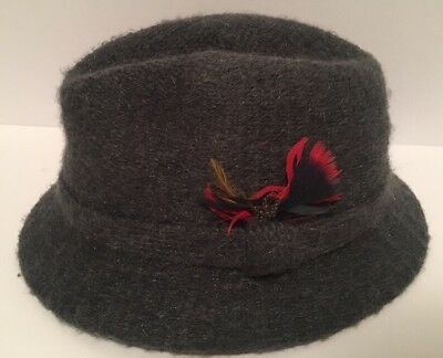 Vintage Men's Italian Casuals Fedora Hat w Feathers Size Large