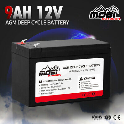 12V 9AH AGM Deep Cycle Battery Camping Charge 4WD Solar Power Bank
