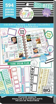Happy Planner Sticker Value Pack - Colourful Boxes 594 stickers MAMBI Planning
