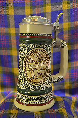 """1978 AVON """"The Strike Rainbow Trout&At Point English Setter"""" Lidded Stein"""