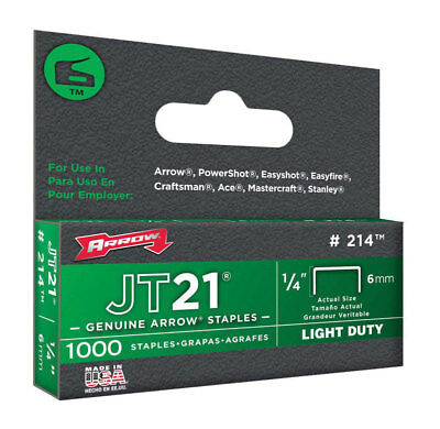 "STAPLE JT-21 1/4 "" PK1000, Arrow Fastener Inc 214, Pkg of 5, UPC: 079055021148"