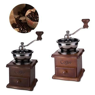 Vintage Manual Coffee Grinder Wooden Hand Coffee Mill With Ceramic Hand Cranks