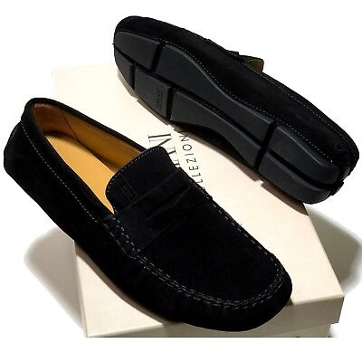 8fdfab4bb12 Armani Men s Leather Penny Loafers Driver s Suede Shoes 9.5 43 Nero Black  New