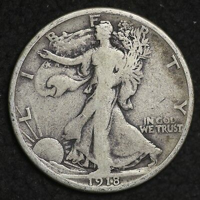 ** 1918-S Walking Liberty Silver Half Dollar FREE SHIPPING!