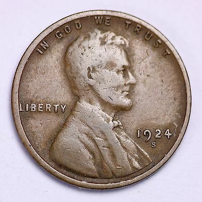 1924-S Lincoln Wheat Cent Penny LOWEST PRICES ON THE BAY!  FREE SHIPPING!