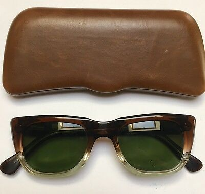 ROCCO 6167 VINTAGE SUNGLASSES ColD 46x22 GLASS GREEN LENSES BRAND NEW fr 1960's