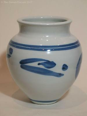 Tim Strachan Blue & White Vase, Abstract Motifs. Australian Pottery. Excellent