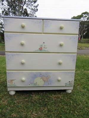 Vintage Baby Nursery Rhyme tall boy chest of drawers Hand Painted Bedroom