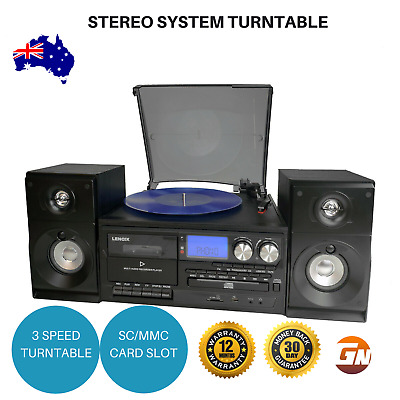 Stereo System Vinyl Record Player Turntable Dual Cassette Recorder w/USB CD MP3