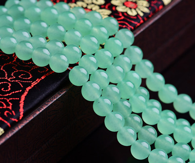 4/6/8/10/12/14mm  green chalcedony Gemstone Round Loose Beads 15''