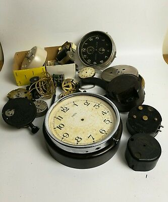 Vintage mid century Smiths wall clock parts spares repairs job lot