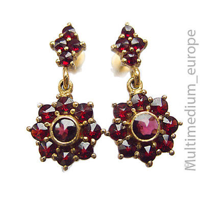 Granat Silber vergoldete Ohrringe Ohrstecker silver garnet earrings 🌺🌺🌺🌺🌺