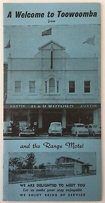Vintage 1960s 'A Welcome to Toowoomba' Map Guide Austin G&D Motors & Range Motel