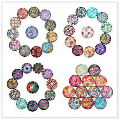 20pcs 10/25mm Abstract Pattern Flatback Glass Cabochon Fit Ring Base Jewelwy Diy