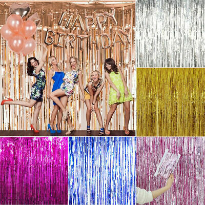 Rose Gold Shiny Fringe Curtain Wall Door Room Decoration birthday Wedding Party