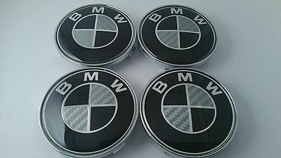 BMW Wheel Center Caps Wheel Caps Black & White Carbon Fiber 68mm