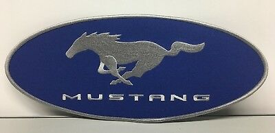 "New Blue & Silver 4 1/2"" X 10 3/4"" Ford Mustang Pony Embroidered Iron On Patch!"