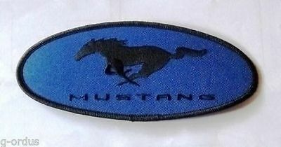 "Rare New Embroidered Blue And Black Ford Mustang Pony 6.5"" Sew Or Iron On Patch!"