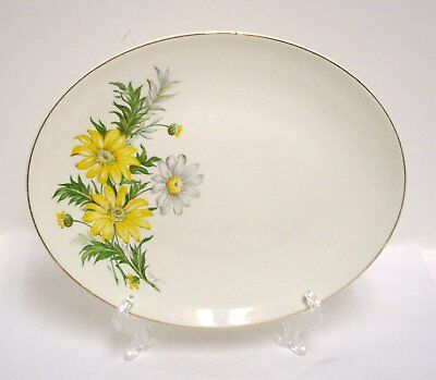 Edwin Knowles Oval Serving Platter Yellow White Daisies X4011 Gold Trim Vintage
