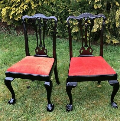 Beautiful Pair of Antique Vintage Wooden Chairs With Ball Claw Feet