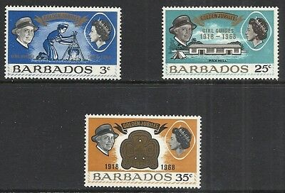 BARBADOS SCOTT 306 - 308 MNH SET - 1968 GIRL SCOUTS 50th ANNIVERSARY ISSUE
