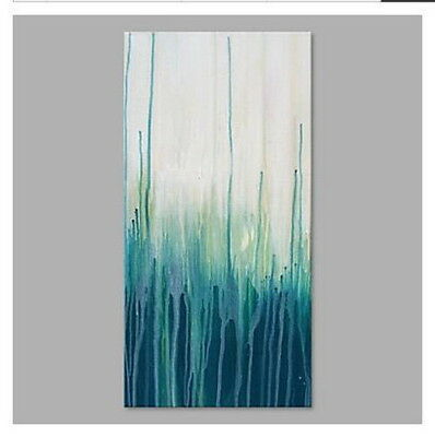 Hand Painted Canvas Modern and Abstract Oil Painting Wall Art Blue 714