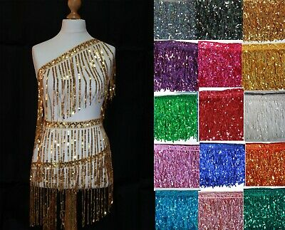 "Sequin Tassel Trim 27 cm 10"" Luxury Fringe Fringing  (longer)  : 8 colours #2"