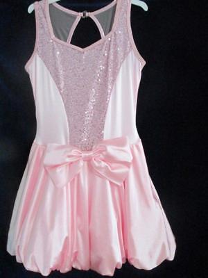 Pink Sequin Bubble Bow Dress Skate Jazz Curtain Call Costume AMED
