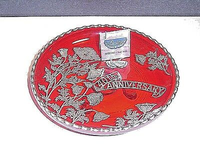 40th anniversary silver city mid century sterling silver overlay red