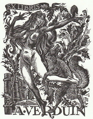 C. LABOTS NL Exlibris Verduin Erotic w Fox & Squirrels Signed Wood Engraving X2