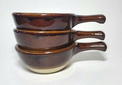 "3 VTG Monmouth Pottery USA Western Stoneware 5"" Bowls Brown Tan French Onion"
