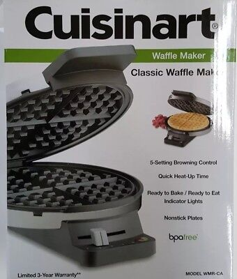NEW CUISINART Waffle Maker Classic Round Stainless Steel  Model# WMR-CA $55 MSRP