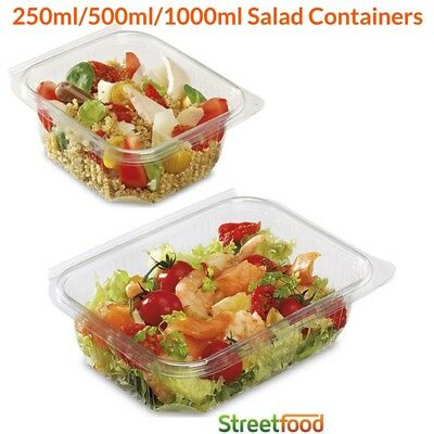 Clear Hinged Lid Salad Containers | Plastic Snack Box/Tub/Deli/Takeaway/Food/Pot