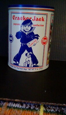 "Cracker Jack tin from 1990, 6"" x 8"""