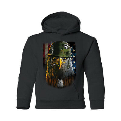 American Army Soldier Eagle US Flag YOUTH Hoodie 4th of July USA Souvenir