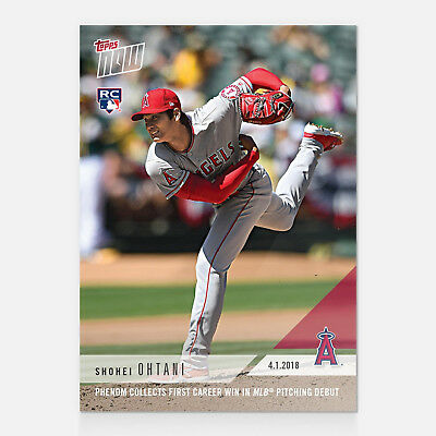 2018 SHOHEI OHTANI 1st CAREER MLB WIN IN MLB PITCHING DEBUT TOPPS NOW CARD #23